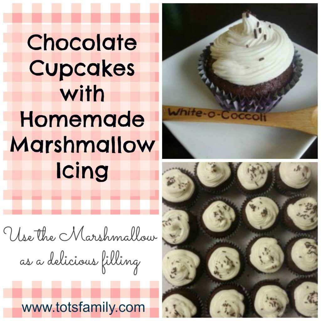 Chocolate Cupcakes with Homemade Marshmallow Icing