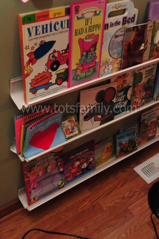 Book shelves from plastic rain gutters $8