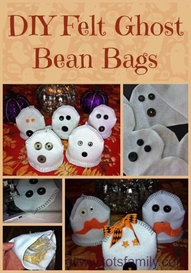 TOTS Family, Parenting, Kids, Food, Crafts, DIY and Travel DIY-Felt-Ghost-Bean-Bags DIY Felt Ghost Bean Bags Crafts Holiday Treats Kids TOTS Family  Halloween party games Ghosts bean bag toss