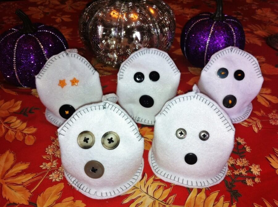 Ghost shaped bean bags for a fun Halloween Carnival Toss.