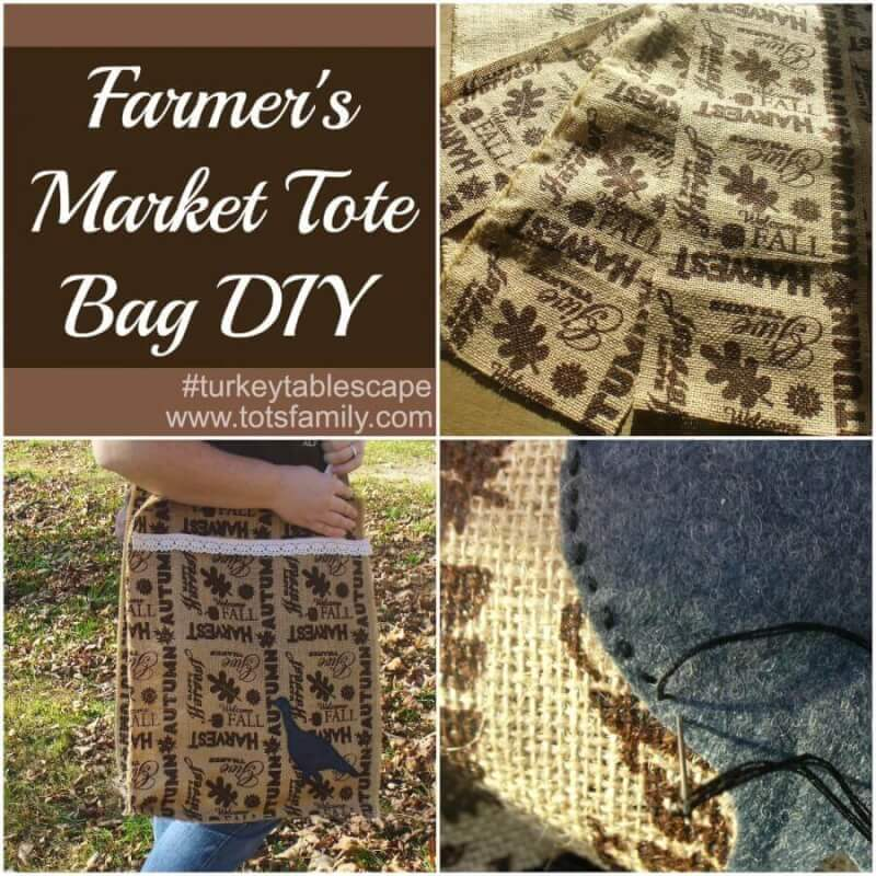 Farmers Market Tote Bag DIY #turkeytablescape