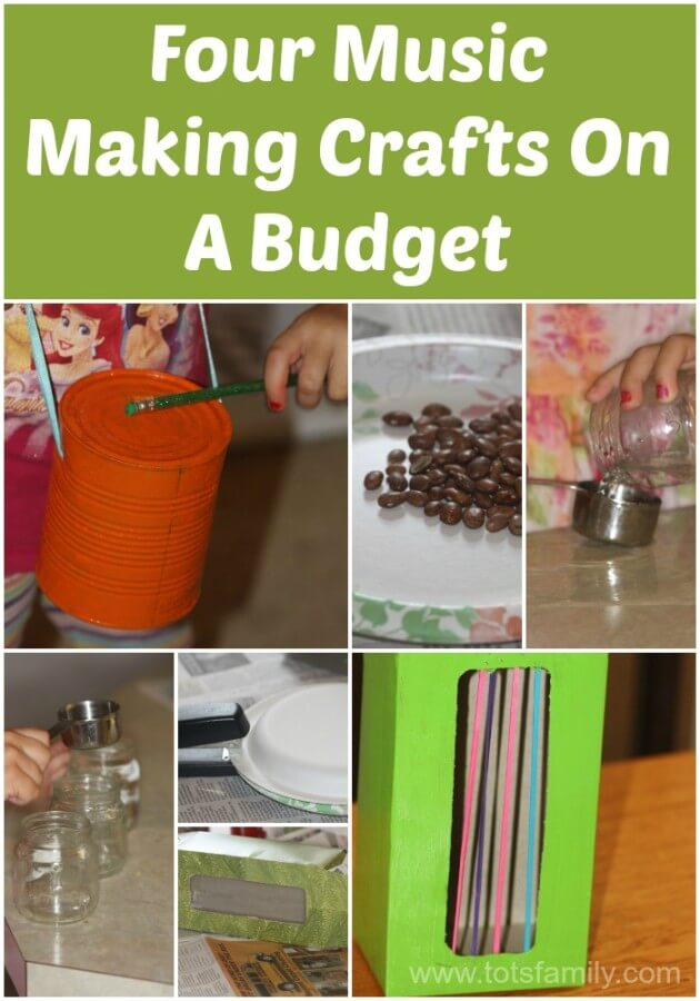 TOTS Family, Parenting, Kids, Food, Crafts, DIY and Travel Four-Music-Making-Crafts-On-A-Budget Four Music Making Crafts On A Budget Kids  tissue box harp tin can drum music crafts kids crafts crafts cheap crafts budget