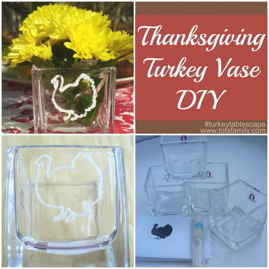TOTS Family, Parenting, Kids, Food, Crafts, DIY and Travel Thanksgiving-Turkey-Vase-DIY-turkeytablescape 3 Thanksgiving Crafts for a Turkey Table Setting Crafts DIY Home TOTS Family  thanksgiving diy craft