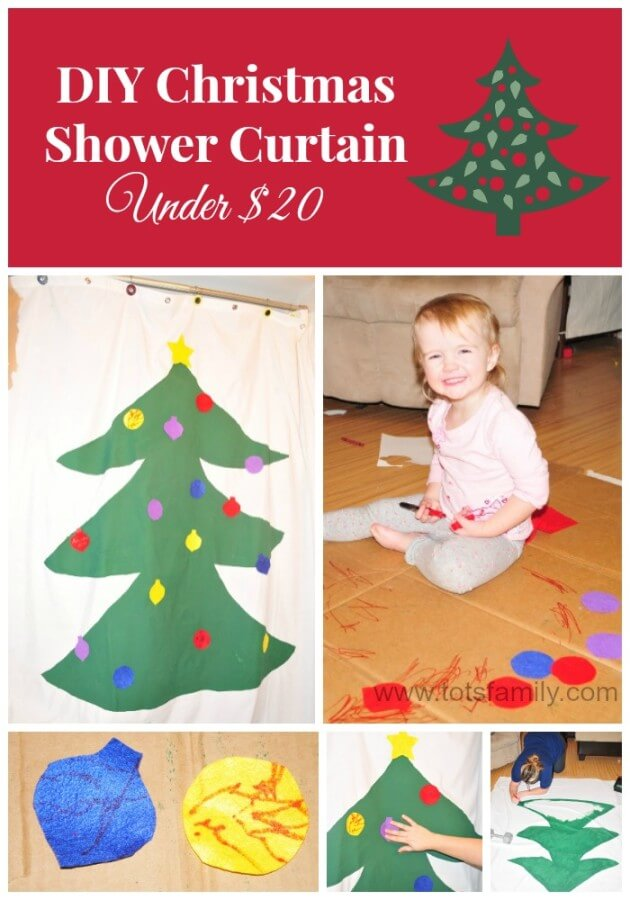 TOTS Family, Parenting, Kids, Food, Crafts, DIY and Travel DIY-Christmas-Shower-Curtain DIY Christmas Shower Curtain for Under $20 Crafts Home Kids Parenting TOTS Family Uncategorized  toddler shower curtain diy craft christmas bathroom activity