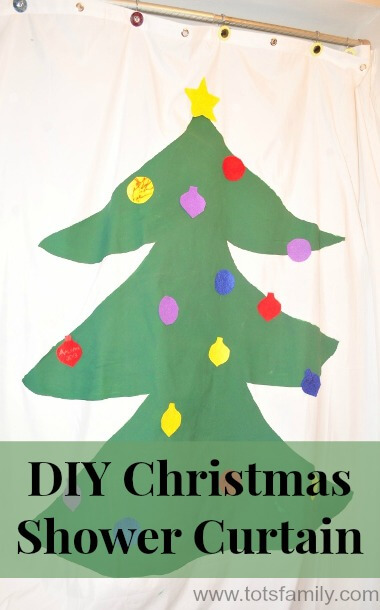 TOTS Family, Parenting, Kids, Food, Crafts, DIY and Travel DIY-Christmas-Tree-Shower-Curtain DIY Christmas Shower Curtain for Under $20 Crafts Home Kids Parenting TOTS Family Uncategorized  toddler shower curtain diy craft christmas bathroom activity
