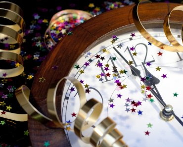 New Year's Eve Party Ideas. New Years Party Background. Clock and festive tinsels