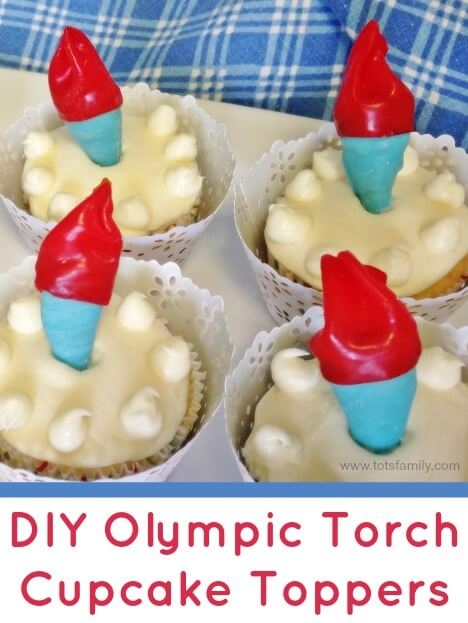 TOTS Family, Parenting, Kids, Food, Crafts, DIY and Travel DIY-Olympic-Torch-Cupcake-Toppers DIY Olympic Torch Cupcake Toppers Food Holiday Treats TOTS Family  Sochi Winter Olympics Olympics Olympic Torch Cupcake Toppers cupcake