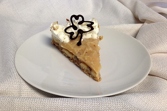 Banoffee Pie Recipe - Skip the green dye, pipe chocolate shamrocks instead.