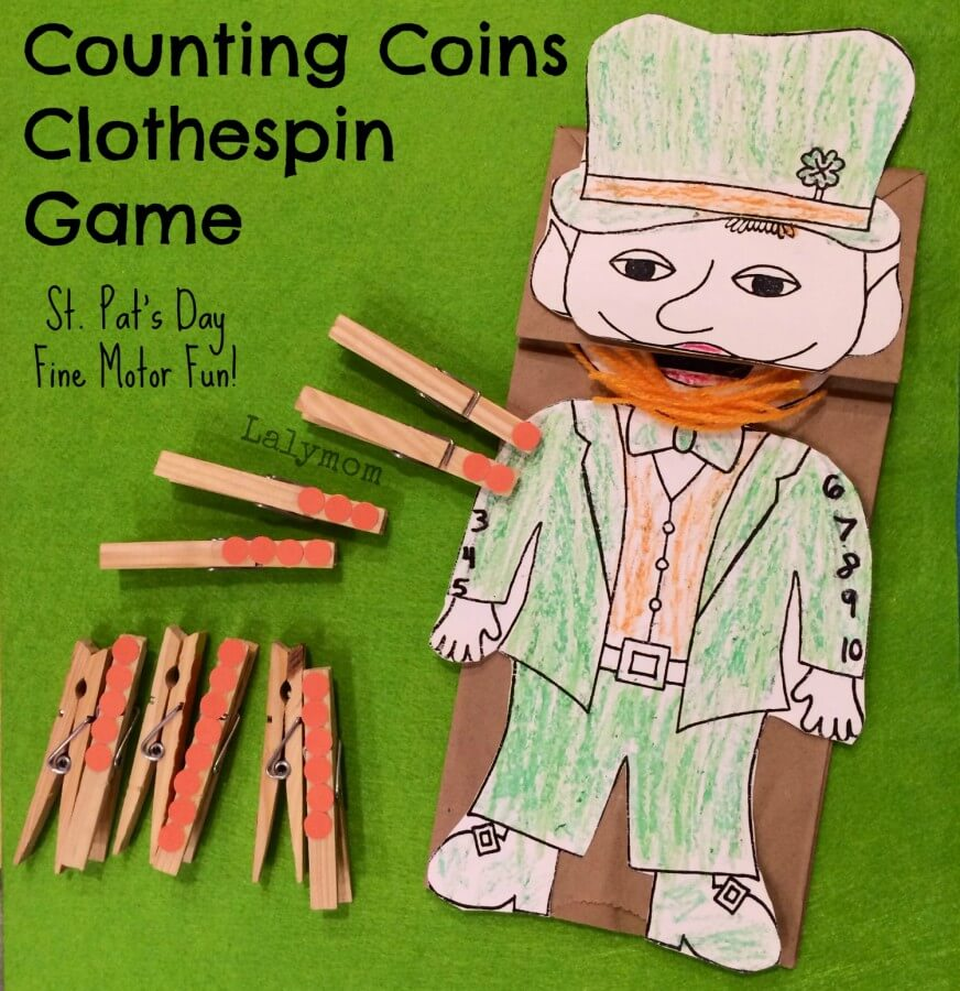 TOTS Family, Parenting, Kids, Food, Crafts, DIY and Travel St.-Patricks-Day-Craft-for-Preschoolers-Counting-Coins-Fine-Motor-Game-from-Lalymom St. Patrick's Day Crafts Games and Fun Facts Crafts Holiday Treats Kids TOTS Family Uncategorized  st pats st patricks saint patricks rainbow march 17 irish green diy crafts clover activities
