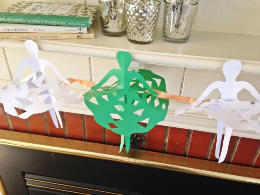 TOTS Family, Parenting, Kids, Food, Crafts, DIY and Travel dancers-3 Paper Irish Dancers Kids  St. Patrick's Day st pats st patricks Paper ballerinas Irish Paper Dancers irish ireland diy crafts