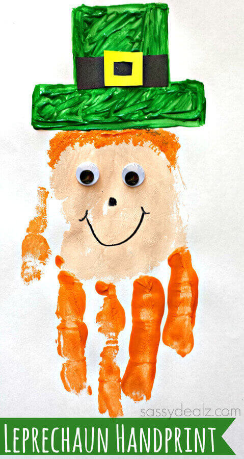 TOTS Family, Parenting, Kids, Food, Crafts, DIY and Travel leprechaun-handprint-craft St. Patrick's Day Crafts Games and Fun Facts Crafts Holiday Treats Kids TOTS Family Uncategorized  st pats st patricks saint patricks rainbow march 17 irish green diy crafts clover activities