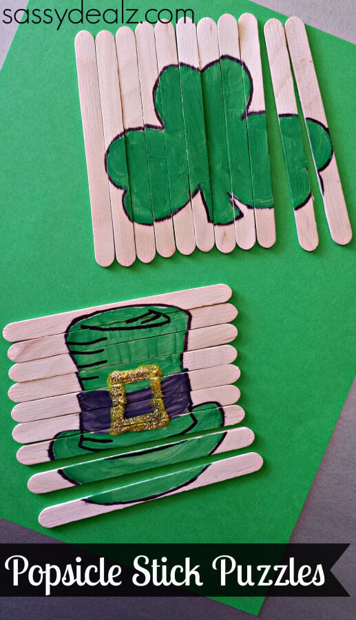 TOTS Family, Parenting, Kids, Food, Crafts, DIY and Travel popsicle-stick-puzzles-craft St. Patrick's Day Crafts Games and Fun Facts Crafts Holiday Treats Kids TOTS Family Uncategorized  st pats st patricks saint patricks rainbow march 17 irish green diy crafts clover activities