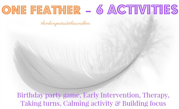 TOTS Family, Parenting, Kids, Food, Crafts, DIY and Travel feather Feather Blowing - Early Intervention Idea (also a fun birthday party idea!) Kids  play therapy party ideas kids intervention feather blowing activities