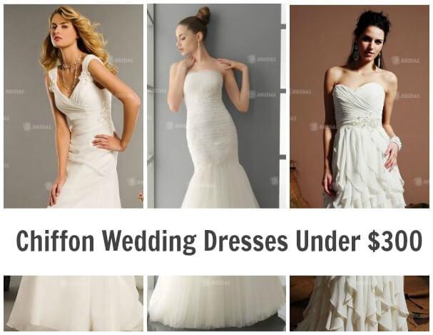 Chiffon Wedding Dresses Under $300