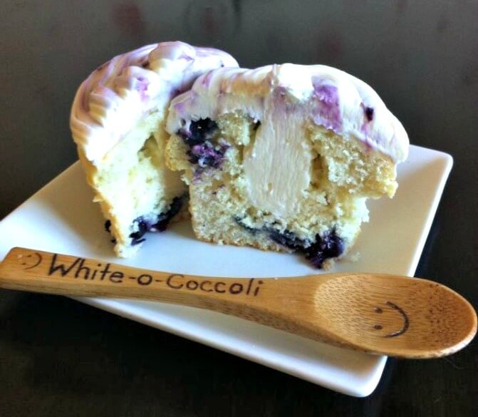 Delicious Blueberry Cupcakes with Blueberry Icing and Cream Cheese Filling