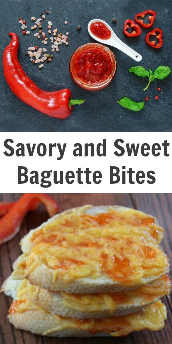 TOTS Family, Parenting, Kids, Food, Crafts, DIY and Travel Savory-and-Sweet-Baguette-Bites Savory and Sweet Baguette Bites Food Miscellaneous Recipes TOTS Family  sweet savory red pepper jelly holiday entertaining cream cheese cheddar cheese baguette appetizers
