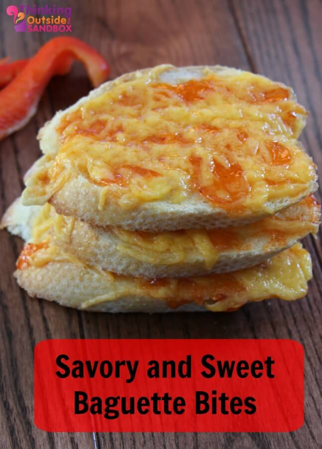 TOTS Family, Parenting, Kids, Food, Crafts, DIY and Travel baguette-bites Savory and Sweet Baguette Bites Food Miscellaneous Recipes TOTS Family  sweet savory red pepper jelly holiday entertaining cream cheese cheddar cheese baguette appetizers