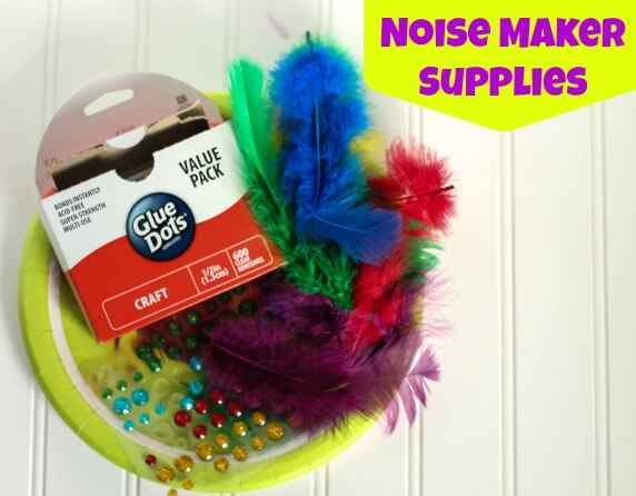 DIY Kids Mardi Gras Noise Maker Craft Supplies