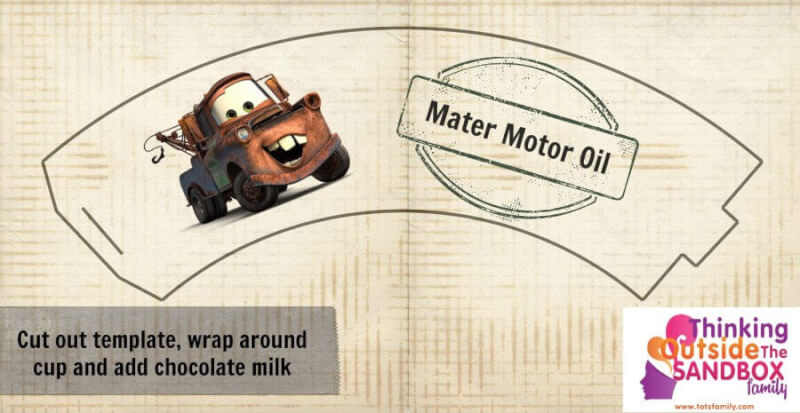 Disney CARS Party Food #DisneySide - With Printables Printable Label for Mater's Motor Oil