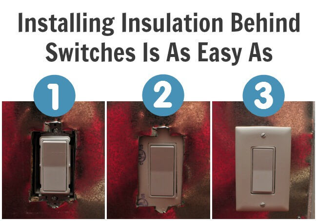 Install insulation behind exterior wall light switches and outlets.