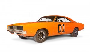 "The Most Popular TV Show Cars. Famous car ""General Lee"" from The Dukes of Hazzard, replica."