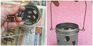 DIY Hanging Polka-Dot Mason Jar Lantern
