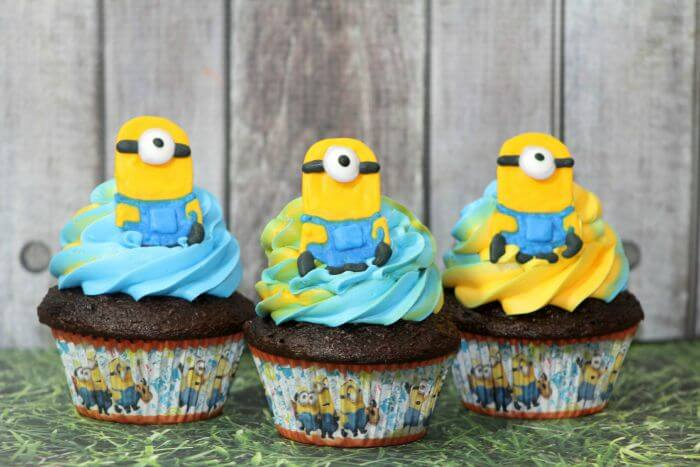 TOTS Family, Parenting, Kids, Food, Crafts, DIY and Travel Minion-Chocolate-Cupcakes-Facebook Chocolate Cupcake Recipe With Two Toned Icing Desserts Food Kids TOTS Family  recipe food desserts