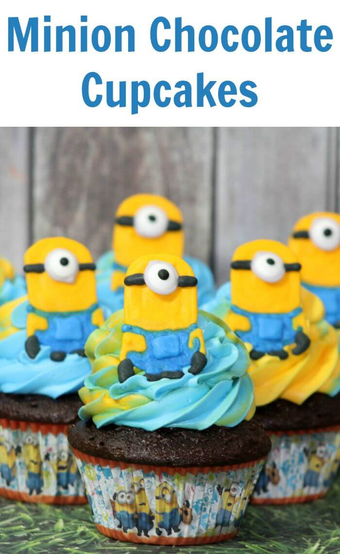 TOTS Family, Parenting, Kids, Food, Crafts, DIY and Travel Minion-Chocolate-Cupcakes Minion Chocolate Cupcakes and Minion Topper Desserts Food Kids TOTS Family  recipe minions food diy cupcakes children