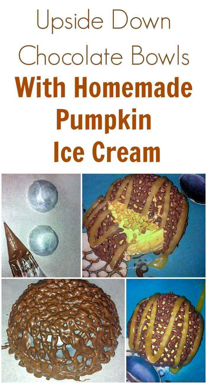Upside Down Chocolate Bowls With Homemade Pumpkin Ice Cream