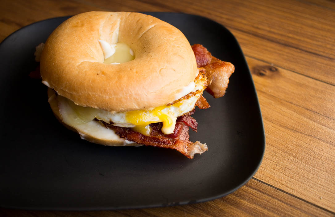This delicious Breakfast Bagel Sandwich is an easy and perfect recipe for a fast on-the-go meal in the morning!