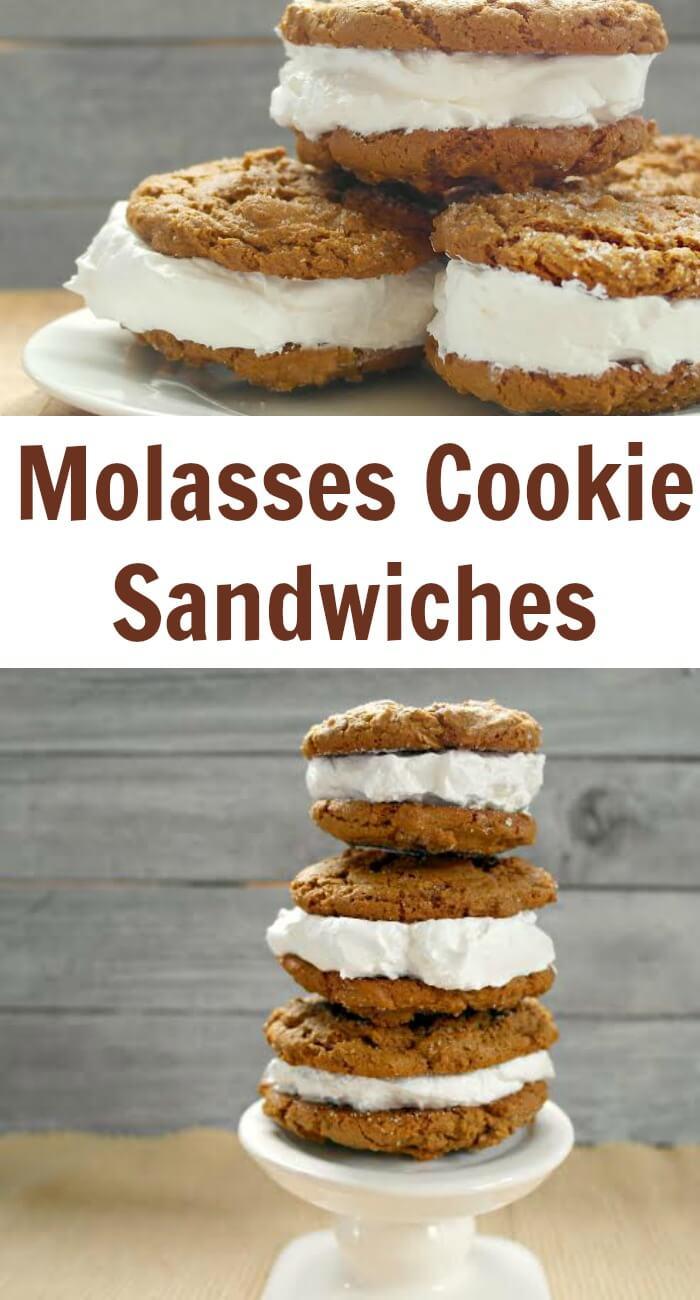 Molasses Cookie Sandwiches - Try using vanilla ice cream instead, yum!