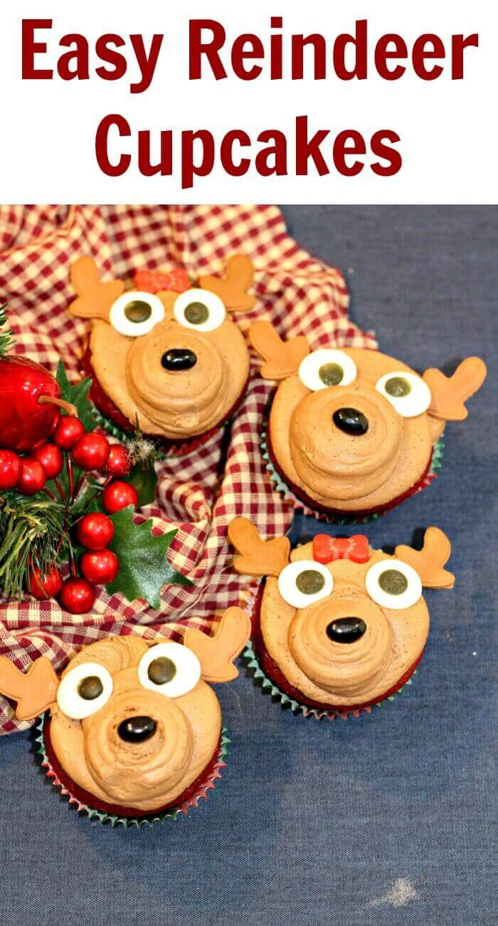 TOTS Family, Parenting, Kids, Food, Crafts, DIY and Travel Easy-Reindeer-Cupcakes Easy Reindeer Cupcakes Desserts Food Holiday Treats TOTS Family  cupcake christmas