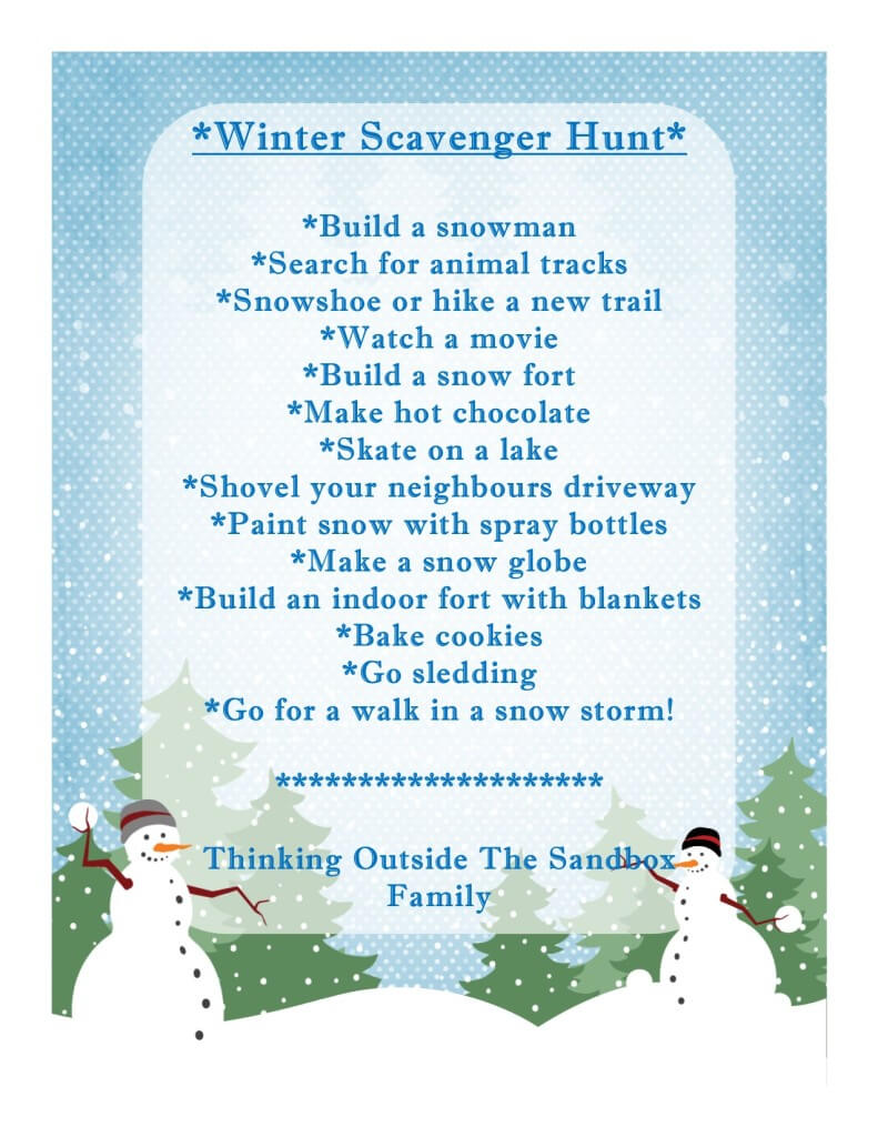 TOTS Family, Parenting, Kids, Food, Crafts, DIY and Travel Thinking-Outside-The-Sandbox-Winter-Scavenger-Hunt-791x1024 Winter Scavenger Hunt with Free Printable Kids Parenting TOTS Family Uncategorized  winter activities winter kids