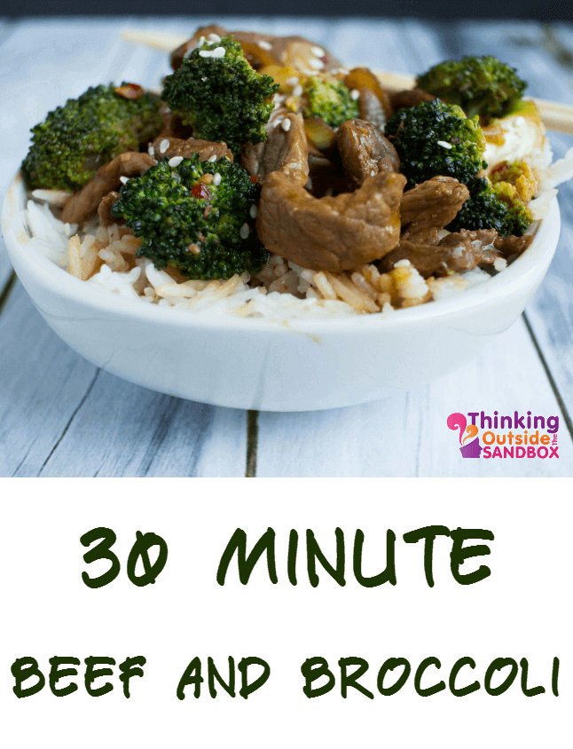 Wow! This delicious beef and broccoli bowls recipe takes only 30 minutes to make! Great weeknight meal for busy moms!