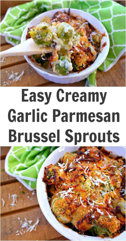 Easy Creamy Garlic Parmesan Brussel Sprouts Bake