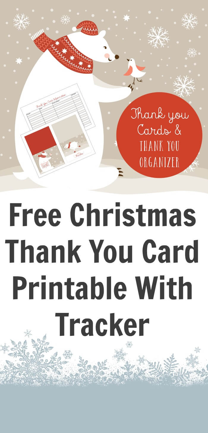 Free Christmas Thank You Card Printable With Tracker