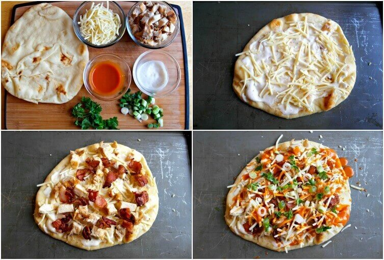 TOTS Family, Parenting, Kids, Food, Crafts, DIY and Travel flatbread-collage Buffalo Chicken Bacon Ranch Flatbread Pizza Appetizers Food Main Dish TOTS Family  recipe pizza homemade pizza flatbread