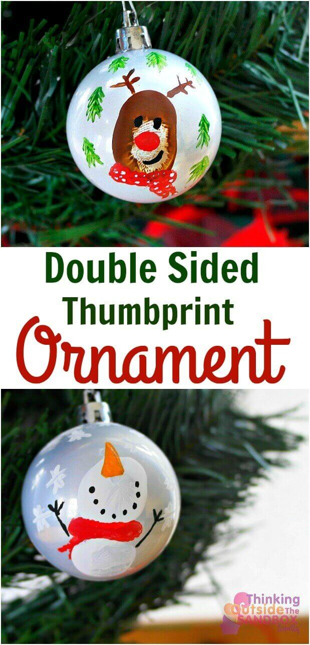 TOTS Family, Parenting, Kids, Food, Crafts, DIY and Travel ornament-pin-1 Double Sided Thumbprint Keepsake Ornament Home Kids TOTS Family  ornament kids holiday easy diy craft