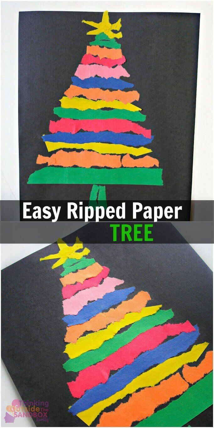 TOTS Family, Parenting, Kids, Food, Crafts, DIY and Travel tree-pin-text- Easy Ripped Paper Tree Craft for the Whole Family Crafts Kids Parenting TOTS Family Uncategorized  ripped paper ripped Paper Tree paper kids craft christmas