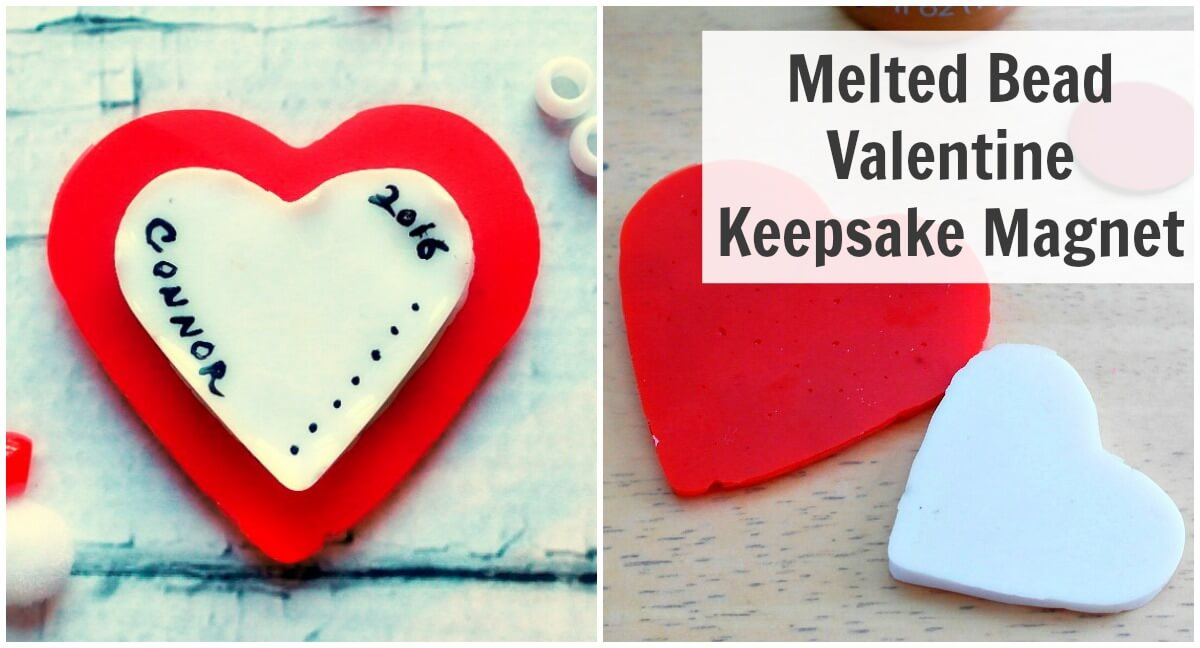 Melted Bead Valentine Keepsake Magnet