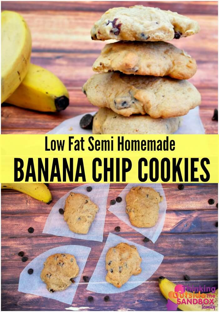 TOTS Family, Parenting, Kids, Food, Crafts, DIY and Travel banana-chip-text-pin Low Fat Semi Homemade Banana Chip Cookies Desserts Food TOTS Family