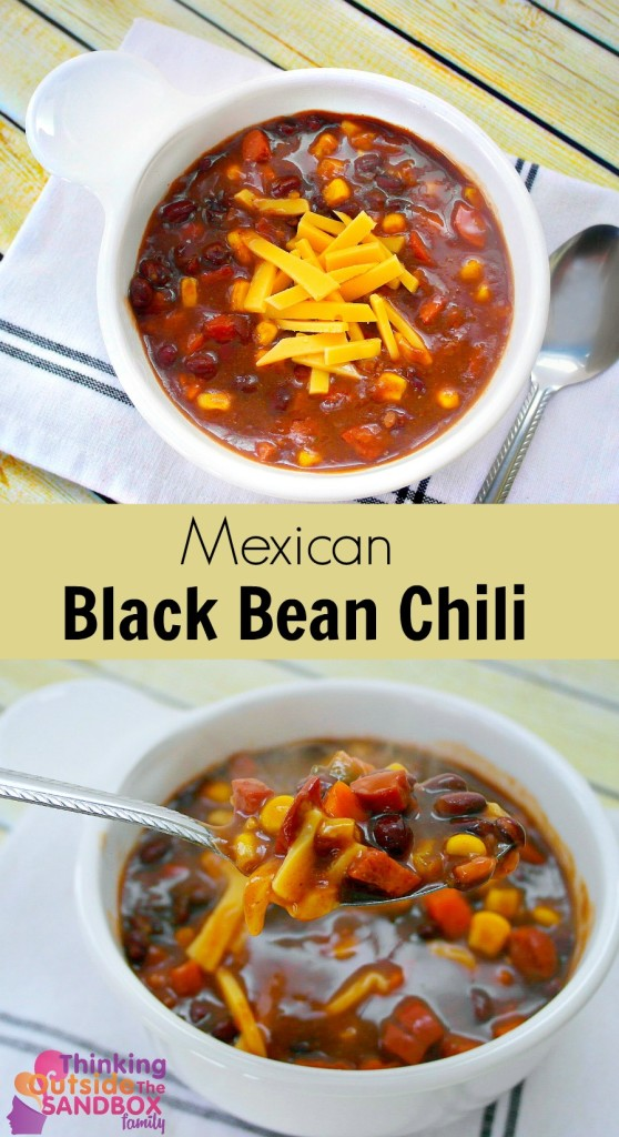 TOTS Family, Parenting, Kids, Food, Crafts, DIY and Travel mex-chili-pin-text--558x1024 Mexican Black Bean Chili Food Main Dish TOTS Family  recipe chili