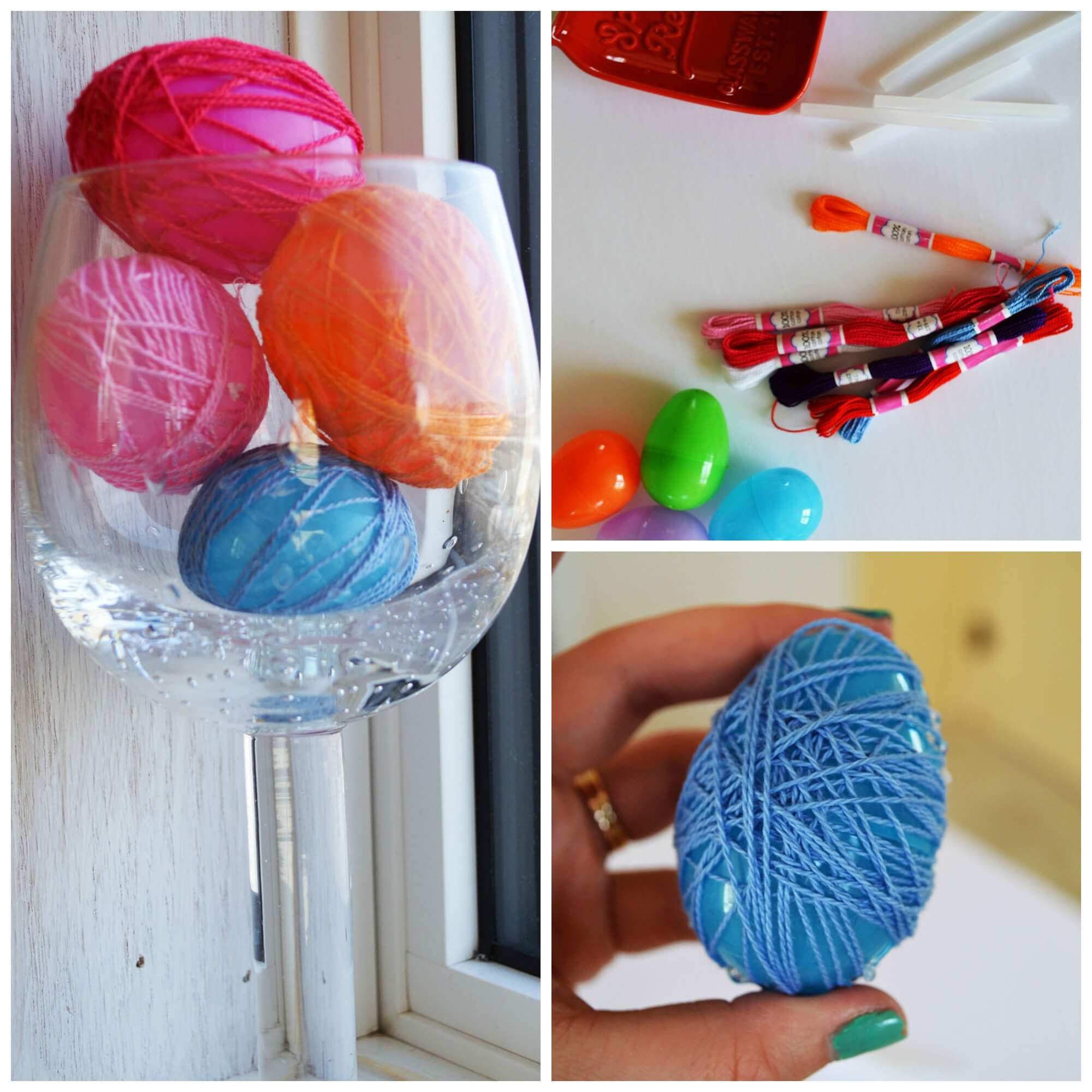 easter crafts - string wrapped eggs