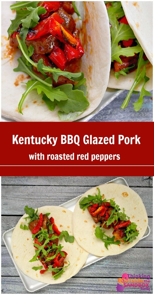TOTS Family, Parenting, Kids, Food, Crafts, DIY and Travel pork-pin-text- Kentucky BBQ Glazed Pork with Roasted Red Peppers Food Main Dish TOTS Family Uncategorized  recipe pork food dinner bbq