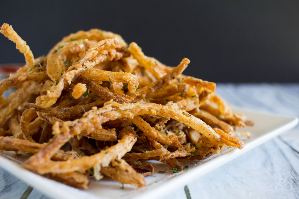 Whether you want to snack on these crispy fried onion strings, or add them a BBQ burger, or even to a salad, you will not be disappointed with these crunchy little onion strings - and they will not last long!