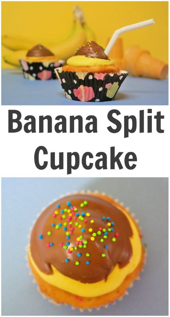 TOTS Family, Parenting, Kids, Food, Crafts, DIY and Travel Banana-Split-Cupcake-551x1024 Banana Split Cupcake Recipe Desserts Food TOTS Family  treat kids dessert cupcakes children buttercream icing banana split cupcakes