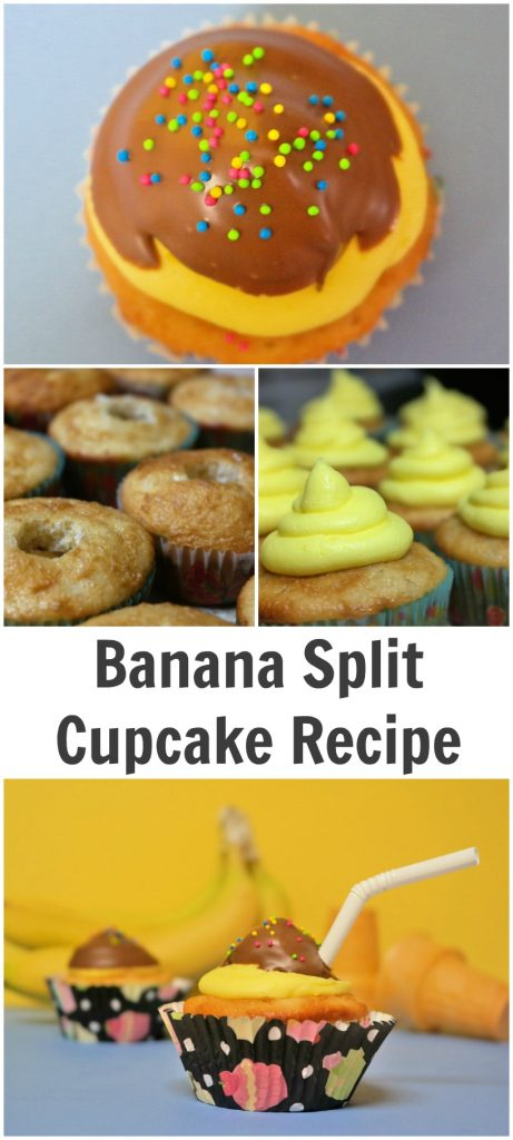 TOTS Family, Parenting, Kids, Food, Crafts, DIY and Travel Banana-Split-Cupcake-Recipe-461x1024 Banana Split Cupcake Recipe Desserts Food TOTS Family  treat kids dessert cupcakes children buttercream icing banana split cupcakes