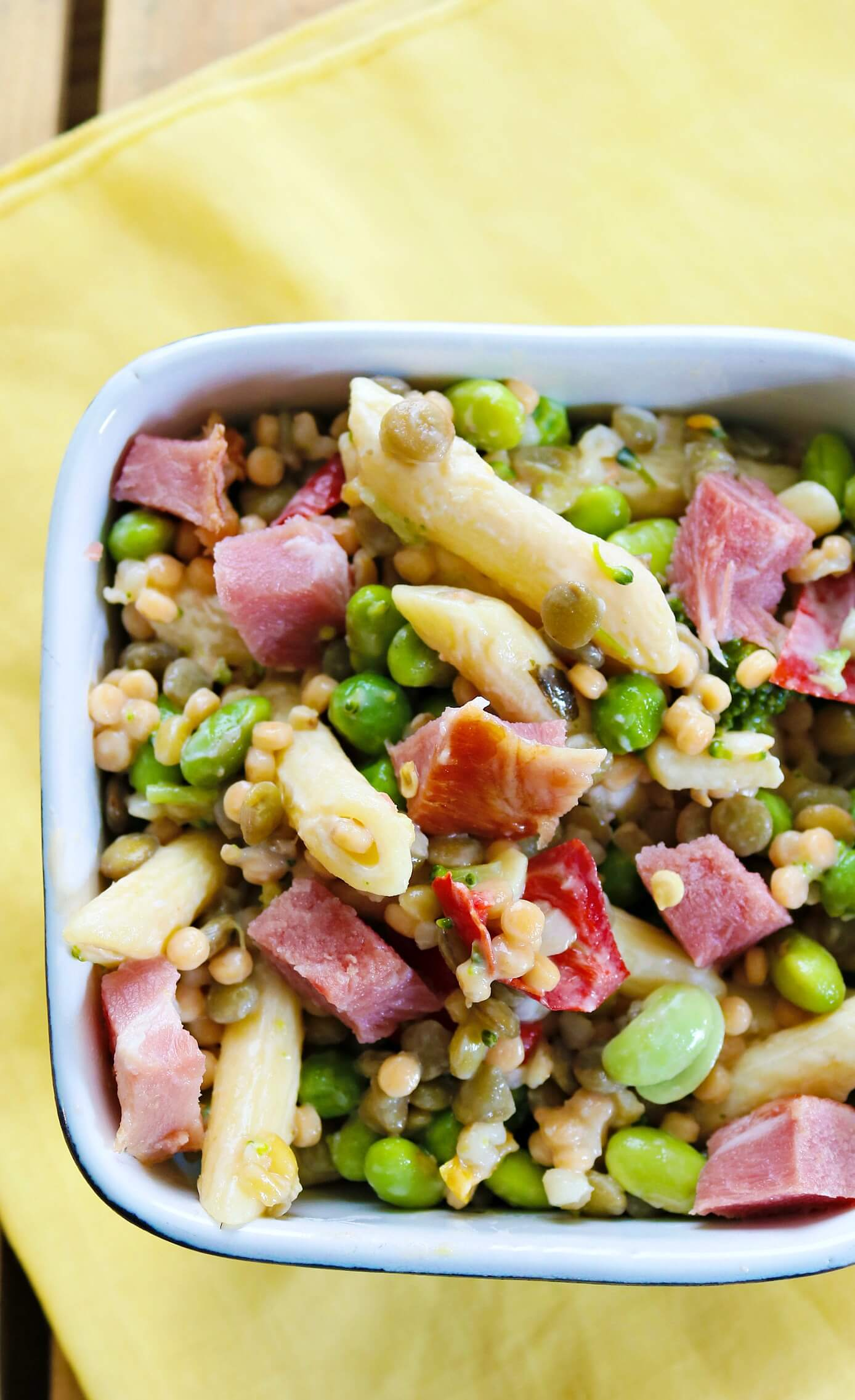Smokey Ham And Lentil Pasta Salad