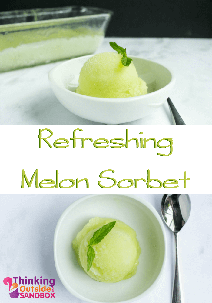 TOTS Family, Parenting, Kids, Food, Crafts, DIY and Travel Refreshing-Melon-Sorbet Easy Melon Sorbet Recipe Desserts Food TOTS Family  sorbet recipe food dessert
