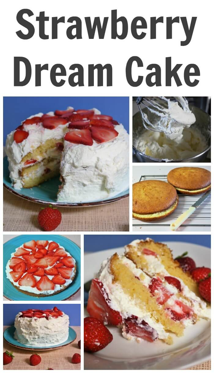 I love the sweet taste of whipping cream and strawberries together add some cake and we have Strawberry Dream Cake Recipe.